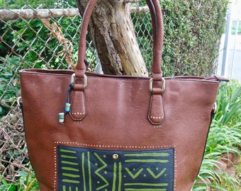 ON SALE: Tribal Immunity Brown Hand painted Bogolan Mudcloth Design Vegan Faux Leather Tote with beads