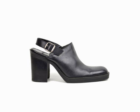 Vintage 90s Slingback Leather Heels / Black Leather Block Heel Mules - women's 7