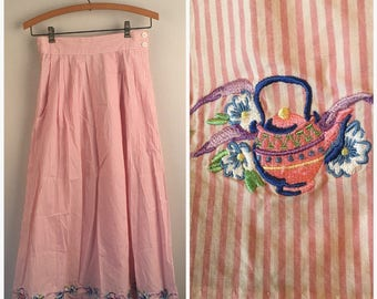 Pink and White Striped Cotton Skirt with Embroidered Teacups and Teapots Vintage long Soft Pleat skirt Small Bechamel