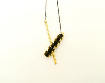 Contemporary Necklace-Brass Pendant Necklace-Contemporary Jewelry-Greek Jewelry-Oxidized Necklace-V Statement Necklace-Brass Necklace