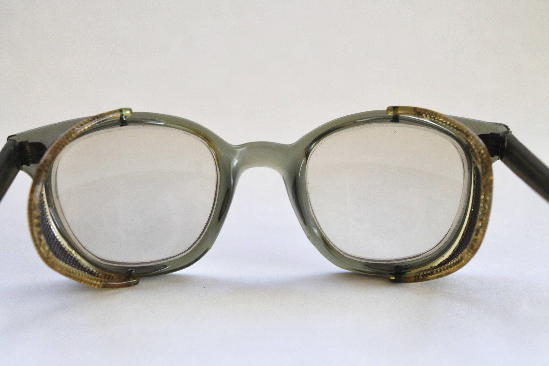 Vintage 1960\'s Mens Unusual Green Horn Rim Eyeglasses Frames with ...
