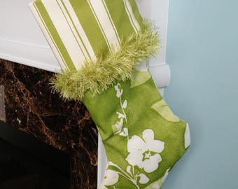Handmade Green Leaves Christmas Stocking with Striped Top and Green Brush Trim