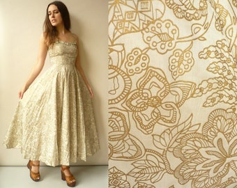 1950's Vintage Full Length Gold Metallic Detail Floral Rockabilly Prom Dress Size XXS - AS IS