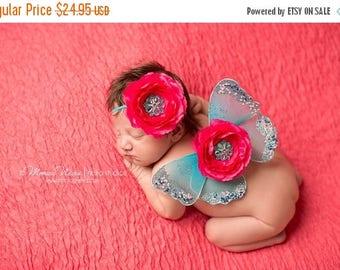 ON SALE Newborn Wings, wings and headband set, Angel Wings, newborn photography prop, baby wings, fairy wings