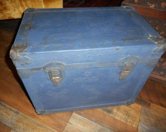 Vintage Distressed Steamer Trunk . Miniature Blue Old Elementary School Trunk. Metal & Wood