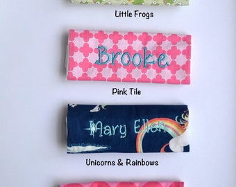 Personalized Handle Wrap Your Choice of 4 Prints - First Name - Back to School, Lunch Box, Backpack, Stocking Stuffer