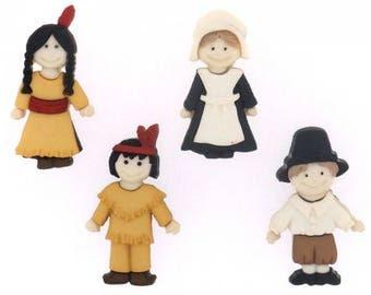 Thanksgiving Buttons 4pc. Pilgrim Buttons. Indian Buttons.