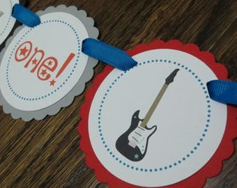 READY to SHIP Rock Star Collection: High Chair Banner I am ONE banner High Chair Decoration First Birthday Banner Rock Roll Rocker Rockstar