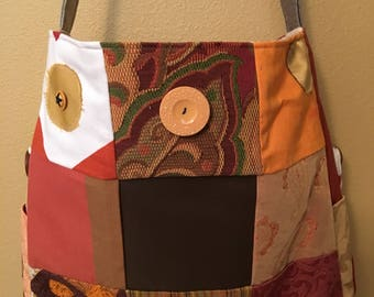 Amber#1715, Large Patchwork Tote, Embellished Large Tote, Knitting Project Tote, Large Project Bag, Extra Large Bag, Loom Tote, Project Bags
