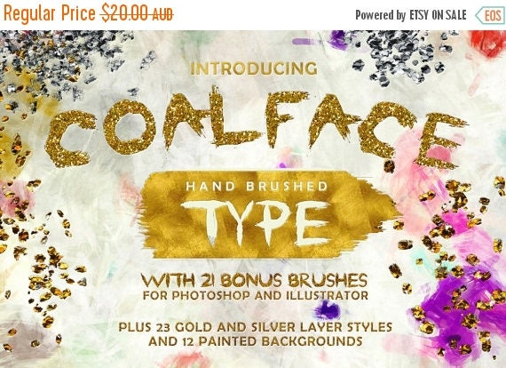 Digital Fonts 80% Off SALE Coalface Brush Fonts Typeface - Plus BONUS Gold and Silver Photoshop Layer Styles, Brushes, Backgrounds