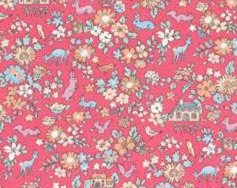 Pink Blue Tan Green and Cream Floral Bunny Cotton Lawn, Memoire a Paris Basic 2017 Collection From Lecien Japan, 1 yard