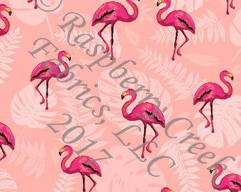 Coral and Bright Pink Palm Leaf Flamingo 4 Way Stretch Jersey Knit Fabric, By Corinne Wells Designs for Club Fabrics, 1 Yard