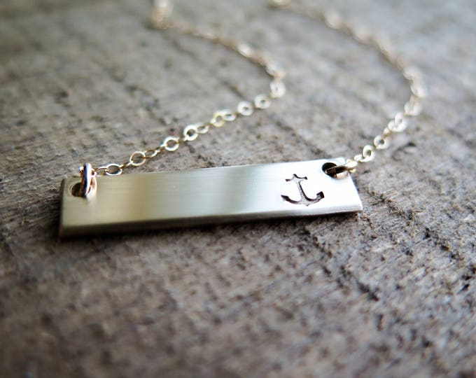 Anchor Necklace - Hand Stamped 14k Gold Fill Bar - Sale Item - by Betsy Farmer Designs