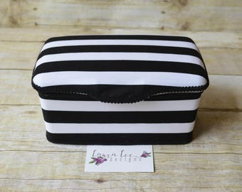 Black and White Stripes Nursery Baby Wipe Case, Baby Shower Gift, Nursery Decor, Diaper Wipes Case, Wipe Holder, Wipes Tub, Personalized