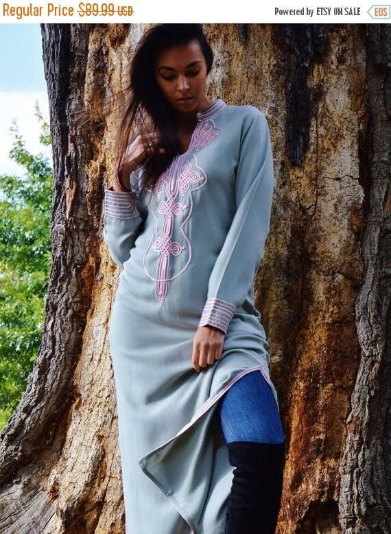 Autumn Dress 20% OFF/ Autumn Winter Grey with Baby Pink Moroccan Caftan Kaftan Aisha-loungewear,resortwear,robe, great for birthdays, Honeym