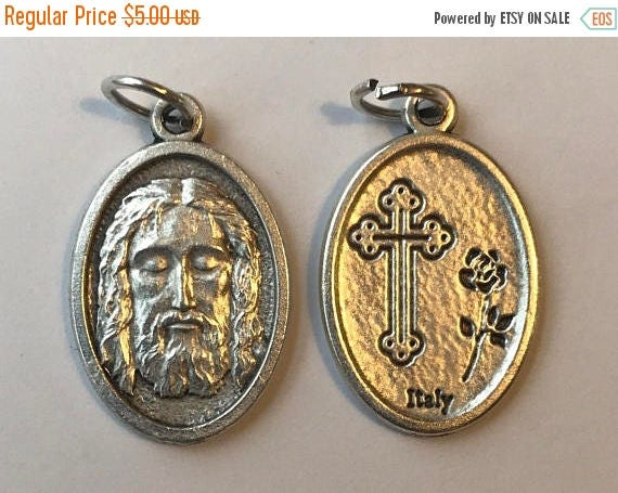 CLOSING SALE 5 Patron Saint Medal Findings, Face of Christ, Cross, Die Cast Silverplate, Silver Color, Oxidized Metal, Made in Italy, Charm,