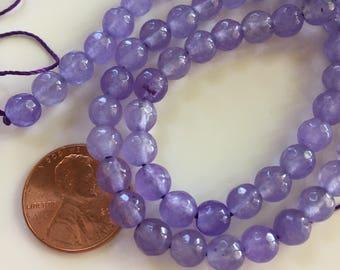 6mm JADE Beads in Lavender, Round, 1 Strand, 63 Beads, Semi Translucent Gemstones Beads, Purple Stone Beads