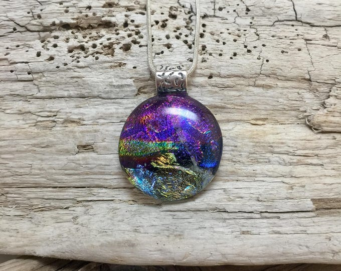 Featured listing image: Dichroic glass, Dichroic glass jewelry, Glass, Dichroic Glass Pendant, Fused Glass Jewelry, Fused layered Dichroic Necklace, Dichroic Glass