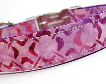 Handmade Dog Collar - Hot Pink Target Practice - Purple Pink Dog Collar Custom Made - With purple diamonds and triangles -Batik Collar