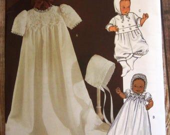 Infants Christening Dress, Jumpsuit and Hat Sizes S M L Butterick Pattern B4052 UNCUT