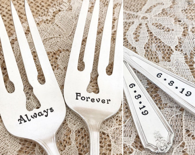 "Always and forever-  hand stamped forks   ""Vanity Fair"" silverware"