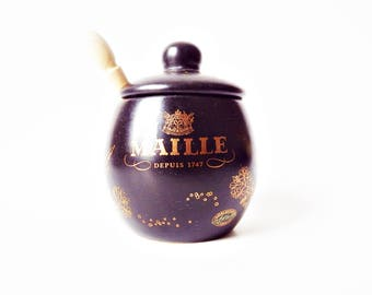 Vintage French Dijon Mustard Pot. Maille Black and Gold Ceramic Mustard Jar/ Unusual Mustard Pot with Wooden Spoon
