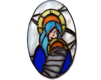 Stain Glass Nativity/ Vintage Christmas Sun Catcher/ Handmade Stained Glass Virgin Mary