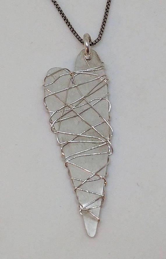 Wire Wrapped Sterling Silver Heart Necklace