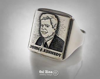 john kennedy Jack Kennedy Portrait Ring Sterling Silver 925 by : ezi zino