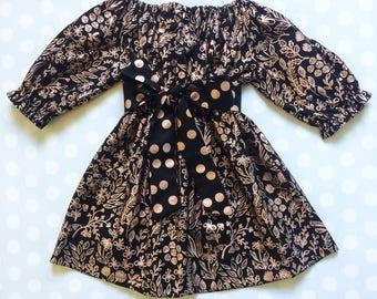 Rose Gold Dress - Black and Rose Gold - Girls Spring Dress - Girls Valentine's Dress - Rose Gold Dress - Baby Girl Dress - Girls Dresses