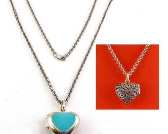Sterling Silver Reversible Heart Locket Necklace, Turquoise Inlay & Scroll Pierced Design