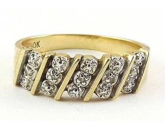 10K Yellow & White Gold band Ring with 5 Diamonds, Sz. 6