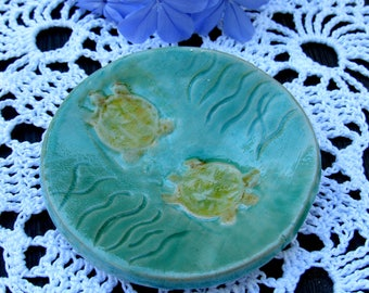 Ring Trinket Dish with turtles, jewelry dish for earrings, rings