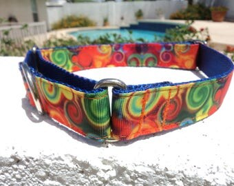 "Dog Collar 1"" Quick Release buckle or Martingale collar style adjustable Colorful Swirls - sizes S - XL"