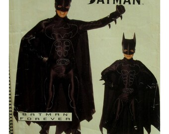 Childs Batman Forever Costume Pattern, Fitted Jumpsuit, Hood, Gloves, Boots, Symbols, Cape, Butterick No. 4172 Size xs s m l