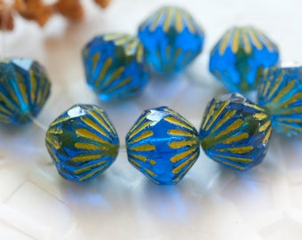 Fire Polished Bicone Beads 9 mm Blue with Yellow Tops 6 pcs