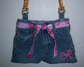 Girl's Bluejean Purse with Bamboo Handles