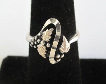 925 Sterling Silver Ring - Leaf & Berries, Vintage Unused w/ Tag, Size 5 1/2