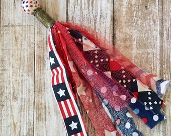 Patriotic Tassel Fabric Red, White, Blue Detachable Mix and Match Pendant Keychain