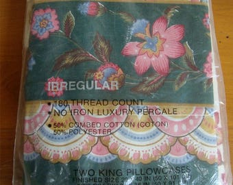 Vintage King Pillowcases by Cannon NIP Jacobean Flowers design Lovely!