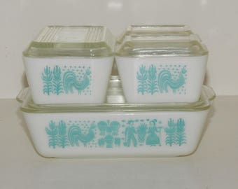 Pyrex Vintage Butterprint Full Set of Refrigerator Dishes...Four Dishes with Four Lids...White with Turquoise (Amish) Pattern...501,502,503