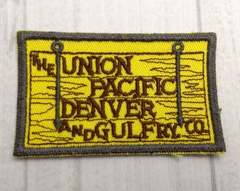 "Vintage Union Pacific Denver and Gulf Railway Patch 3.1"", Colorado and Wyoming Railroad, Railroadiana, Freight Railroad Collectible"