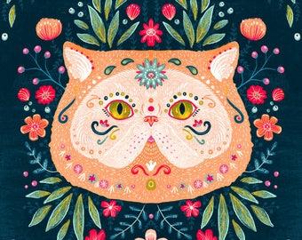 Sugar Skull Cat 8x10 Print