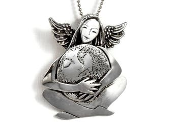 Sterling Moon Jewelry, Moon Jewelry Gift For Women, Sterling Angel Necklace, Robin Wade Jewelry, Angel Kalynn Holds The Moon, Pendant, 2463