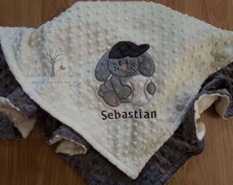 Basketball personalized minky baby blanket gender neutral personalized minky baby blanket baseball personalized minky baby blanket personalized baby gift bunny negle Choice Image