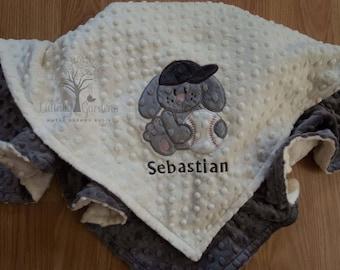 Personalized Minky Baby Blanket, Baseball Personalized Minky Baby Blanket, Personalized Baby Gift, Bunny Appliqued Minky Baby Blanket