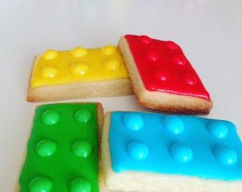 Lego Sugar Cookies,lego birthday party favor - 2 dozen