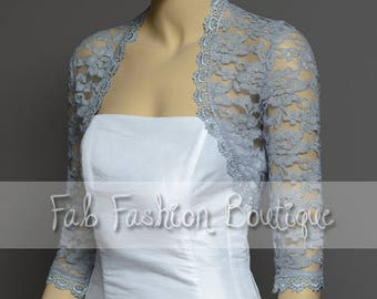 Grey 3/4 sleeved lace bolero jacket shrug Size S-XL, 2XL-5XL