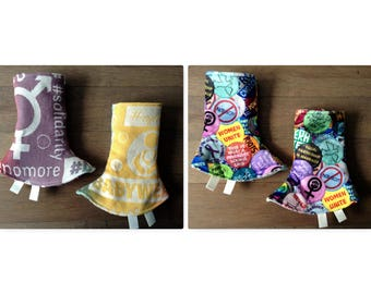Reversible Feminist Curved Drool Pads / Cari Wrap Scraps/ Feminism Minky / Corner Teething Pads / Lillebaby, Ergo, Tula, Solidarity