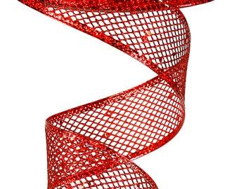 1.5 Inch Red Glitter Hexagon RL183024, Christmas Ribbon, Valentine Ribbon